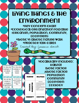 Living Things & The Environment Activity Pack: Foldable, Vocab, & Task Cards