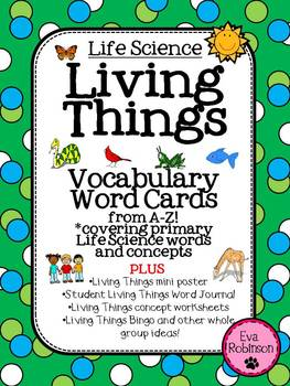 Living Things: Vocabulary Word Cards from A-Z PLUS more!