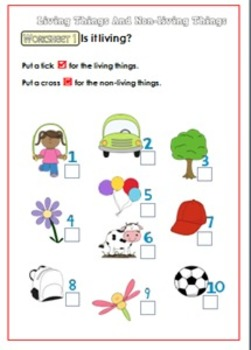 Living Things and Non-living Things Worksheet for K.- 1