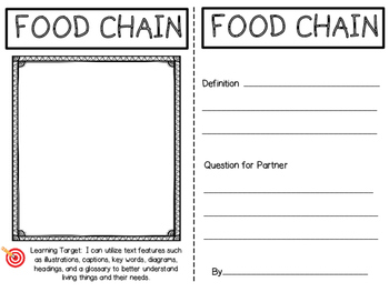 Living Things and Their Needs Vocabulary Trading Cards
