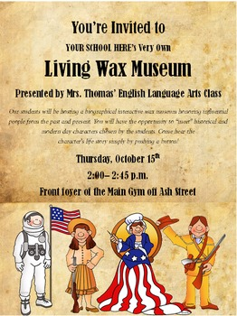 Living Wax Museum Flyer