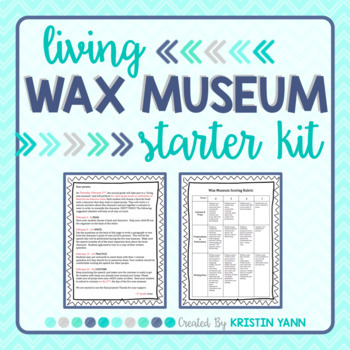 Living Wax Museum - Parent Letter, Rubric, Organizer *Editable*