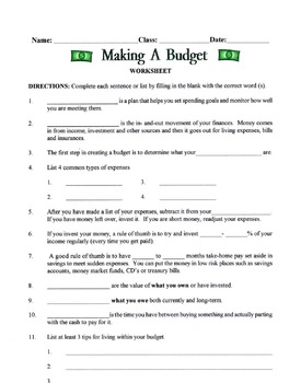 Living Within A Budget Lesson