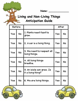 Living and Non-Living Anticipation Guide FREEBIE!