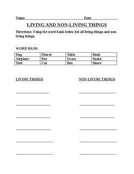 Living and Non Living Kindergarten