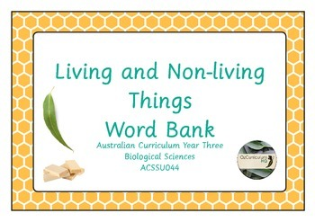 Living and Non-Living Things Energy Word Bank