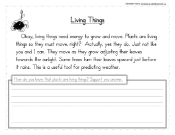 Living and Non-Living Things (Science, Math, and Writing)