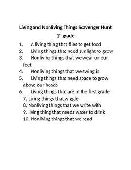 Living and Non-living Things Scavenger Hunt