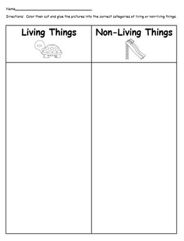 living and non living things sorting worksheet by jayme rahilly tpt. Black Bedroom Furniture Sets. Home Design Ideas