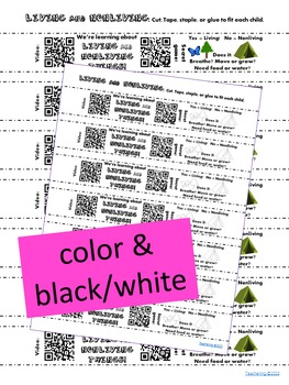 Living and Nonliving Homework Bracelets with QR Codes {Kindergarten}