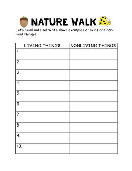 Living and Nonliving Nature Walk