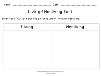 Living and Nonliving Sort (Cut & Glue)