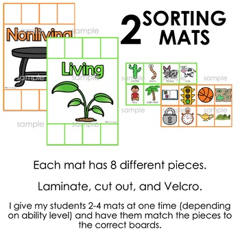 Living and Nonliving Sorting Mats [2 mats included]   Living Nonliving Activity