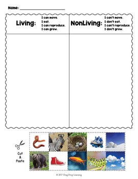 Living and Nonliving Things -  Sorting Cards and Worksheets