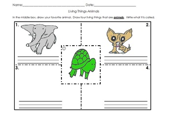 Living and Nonliving Things Activities Pack English Spanish C-scope CC