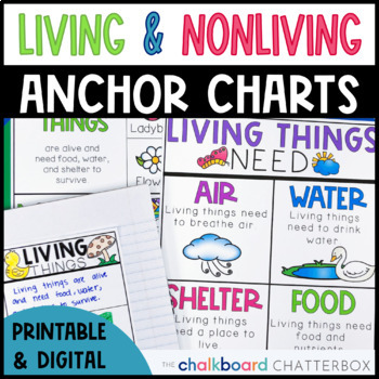 Living and Non-living Things Anchor Charts