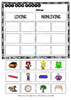 Living and Nonliving Things  | Category Sort | Cut and Paste Worksheets