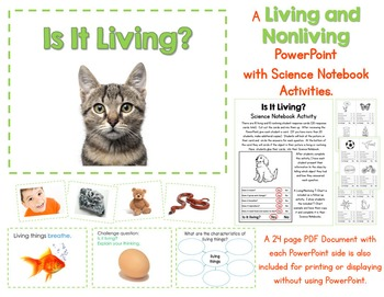 Living and Nonliving Things PowerPoint and Science Notebook Activities