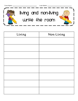 Living and Nonliving Write the Room