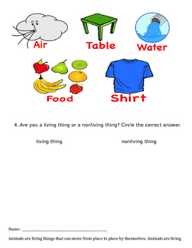 Living and Nonliving things activities