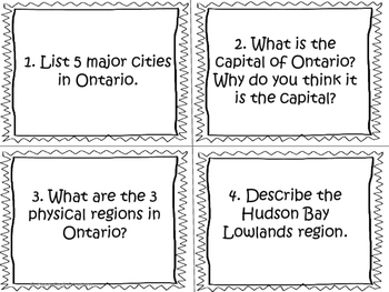 Living and Working in Ontario Task Cards
