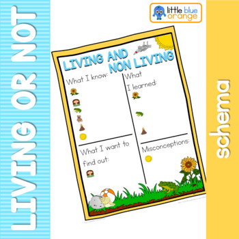 Living and non living things schema  worksheet