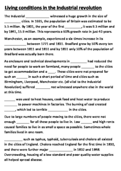 Living conditions in the Industrial Revolution Cloze Activity