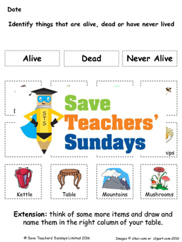 Living, dead or never alive Lesson plan and Worksheets