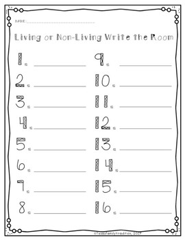 Living or Non-Living Write the Room