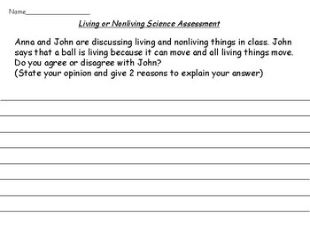 Living or Nonliving Assessments (including ELL)