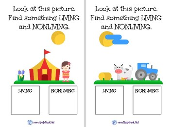 Living or Nonliving- A Science Concept Adapted Book for Autism Units or Elem