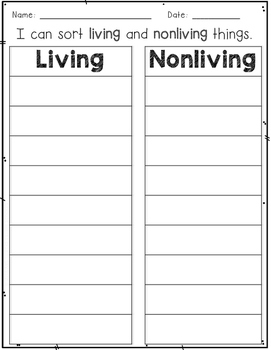 Living or Nonliving? Picture Sort and  Write the Room Activities