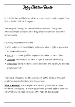 Living the Christian Life - Activities for Students