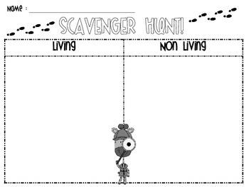 Living vs. Non-Living Scavenger Hunt {FREEBIE!}