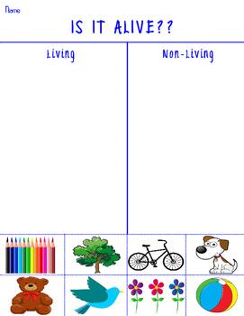 Living vs Non Living Grade School Science Worksheet