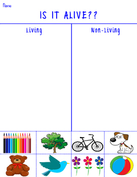 Living vs Non Living Grade School Science Worksheet