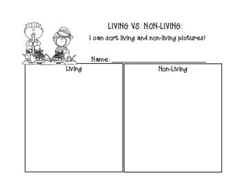 Living vs. Non-Living sort Kindergarten