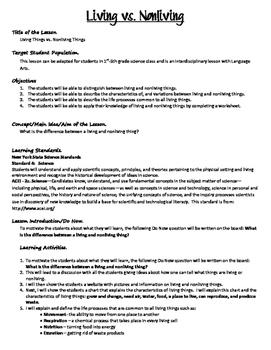 Living vs NonLiving Lesson Plan and Observation Worksheet