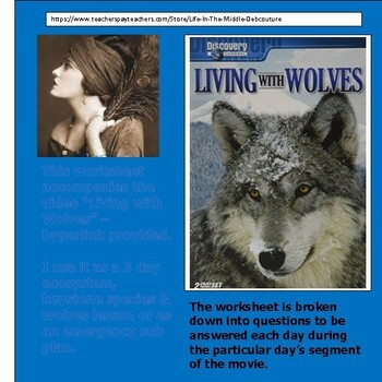 Living with Wolves 3 day lesson worksheet & hyperlink Ecology, Keystone & Wolves