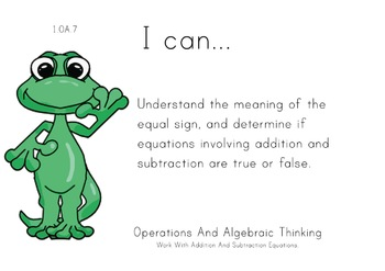 Lizard Theme 1st grade math Common Core Posters first Grade Standards