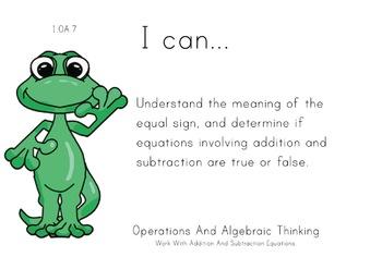 Lizard Theme 1st grade math Common Core Posters first Grad