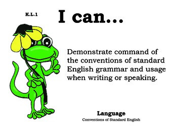 Lizardslizard Kindergarten English Common core standards posters