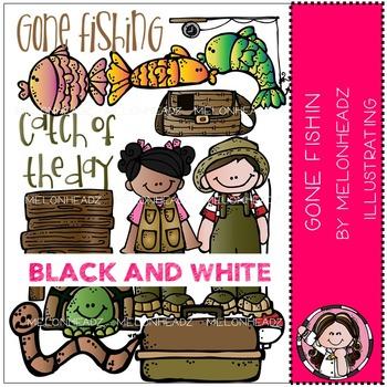 Liz's Gone Fishin clip art - BLACK AND WHITE- by Melonheadz