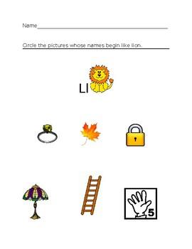 Ll Lion Homework Sheet #1