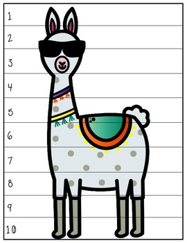 Llama 1's, 2's, 5's, 10's, and 100's Sequencing Puzzles