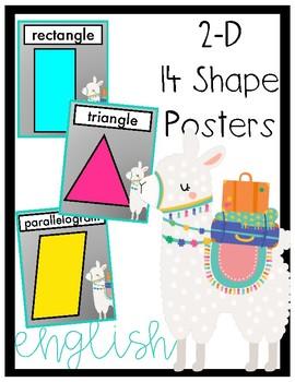 Llama 2-D Shape Posters