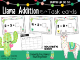 Addition Center: Llama task cards