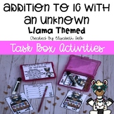Llama Addition to 10 With an Unknown Task Box Activity