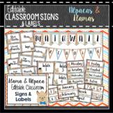 Llama Classroom Decor, Signs and Labels: Editable, Alpaca