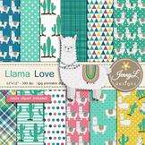 Llama Alpaca Digital papers and clipart